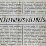 Székelyderzs változásai - újságcikk 1980-ból